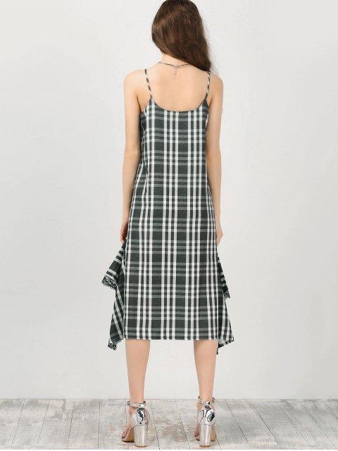 shops Cami Lace Panel Plaid Asymmetric Dress - CHECKED M Mobile