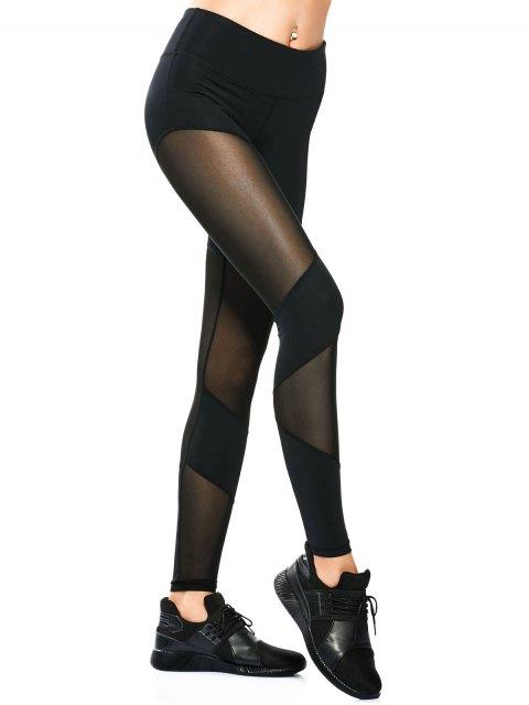 shop Mesh Insert Skinny Yoga Leggings - BLACK S Mobile