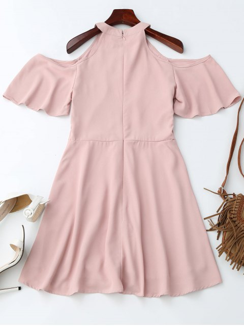 unique Jewel Neck Cold Shoulder Floral Embroidered Dress - PINK S Mobile