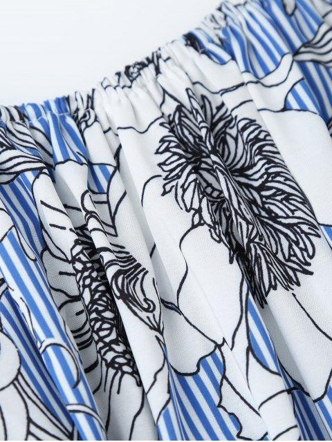 affordable Off Shoulder Striped Floral Dress With Belt - BLUE STRIPE S Mobile