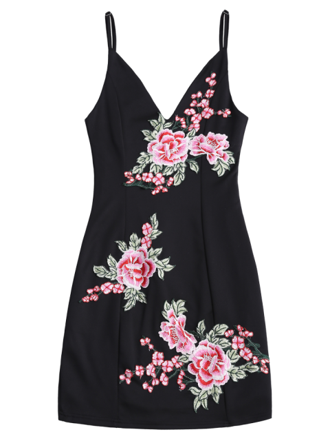 lady Floral Embroidered Mini Bodycon Dress - BLACK L Mobile