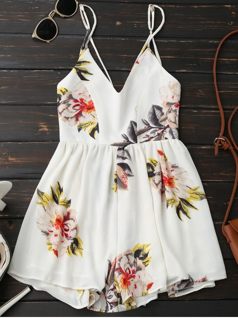 lady Spaghetti Strap Backless Floral Wide Leg Romper - WHITE M Mobile