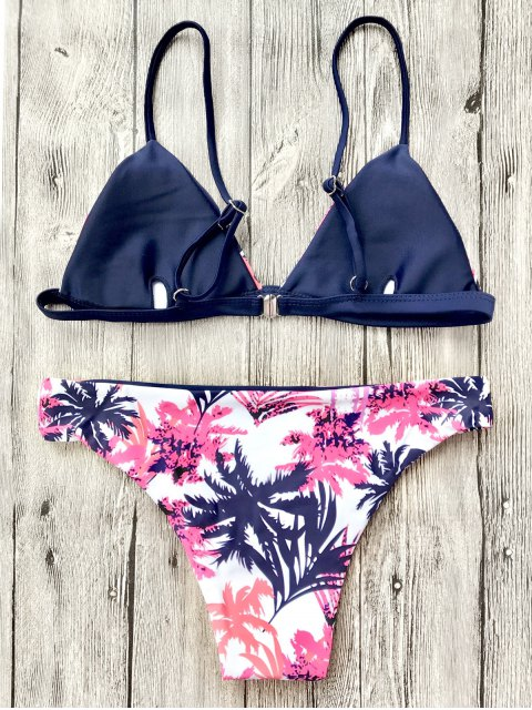 ladies Leaf Print Plunge Cami Bikini Set - WHITE L Mobile