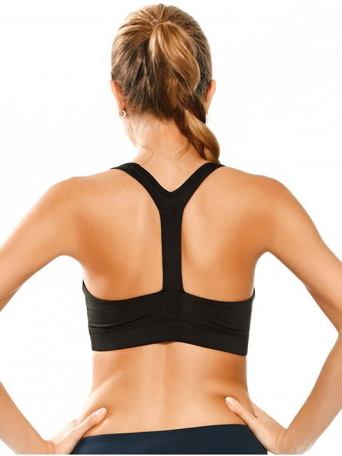 unique Padded Y Back Sporty Bra - BLACK S Mobile