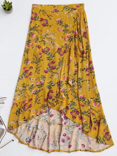 Ruffles Asymmetrical Skirt - Yellow