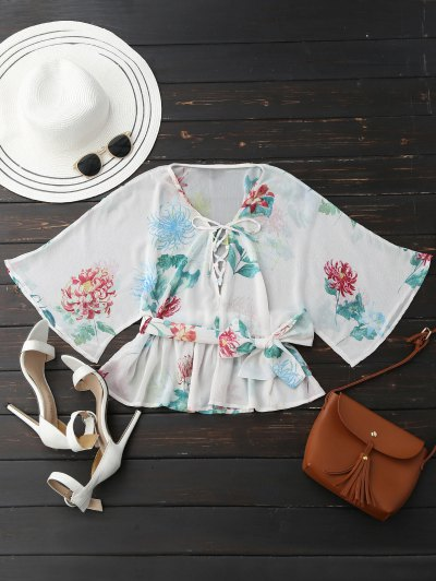 Lace Up Batwing Sleeve Floral Belted Top - White