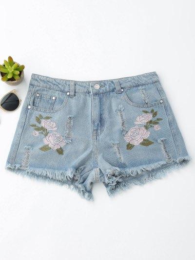 Floral Embroidered Frayed Hem Hot Denim Shorts - Denim Blue
