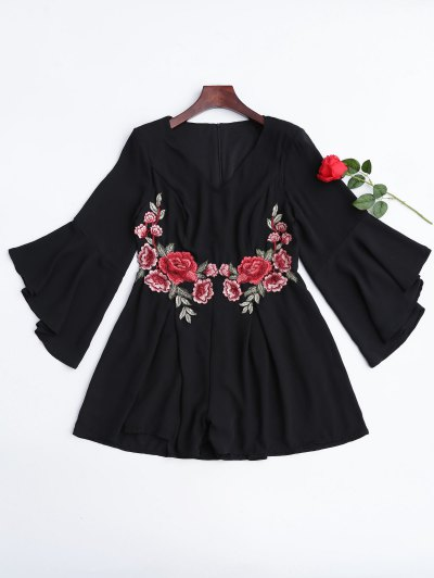 Flare Sleeve Ruffles Floral Embroidered Romper - Black