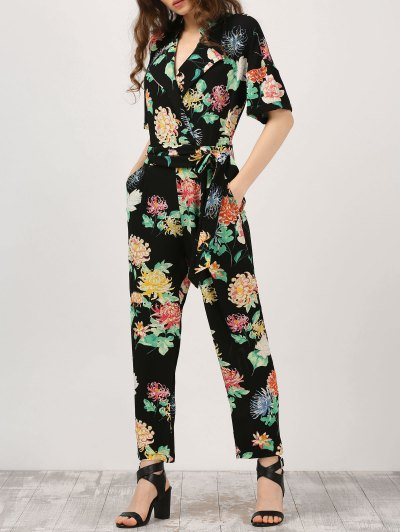 Floral Surplice Jumpsuit With Pocket - Black
