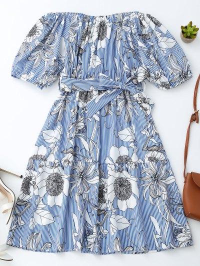 Off Shoulder Striped Floral Dress With Belt - Blue Stripe L