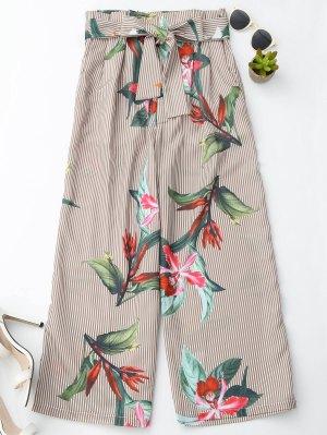 Pantalons larges à rayures  à motif floral avec ceinture