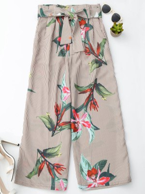 Floral Striped Wide Leg Pants With Belt