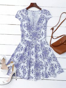 Print Cut Out Fit And Flare Dress - Blue And White