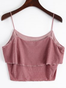 Buy Layered Velvet Tank Top - RUSSET RED M