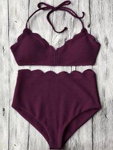 Halter Scalloped High Waisted Bikini Set - Merlot