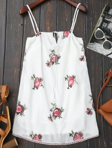 Backless Floral Embroidered Slip Dress