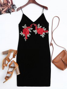 Rose Embroidered Velvet Bodycon Dress - Black