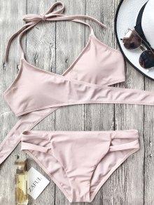 Cutout Halter Wrap Bikini Set - Pink