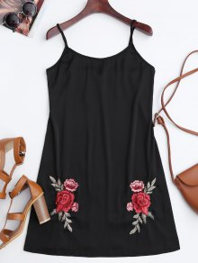 Satin Floral Embroidered Slip Mini Dress - Black