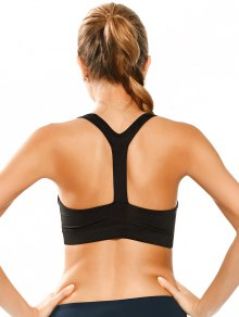 Padded Y Back Sporty Bra - Black