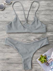 Spaghetti Strap Thong Bikini Set - Gray