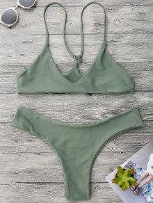 Spaghetti Strap Thong Bikini Set - Army Green S