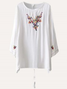 Embroidered Casual Tunic Dress