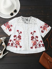 Ribbon Tie Lace Floral Embroidered Blouse - White L