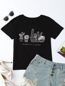 Cactus Graphic Cotton Blend T-Shirt