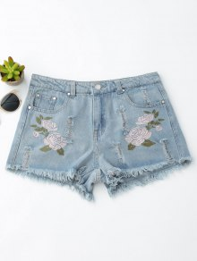 Floral Embroidered Frayed Hem Hot Denim Shorts
