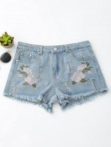 Pantalones cortos bordados florales del dril de algodón