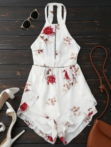 Open Back Floral Romper With Belt - White M