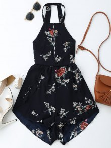 Open Back Floral Romper With Belt
