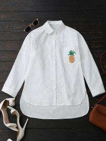 Boyfriend High Low Pineapple Pocket Shirt - White L