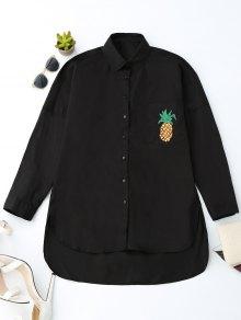 Boyfriend High Low Pineapple Pocket Shirt - Black S