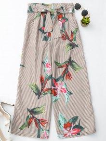 Pantalones Anchos Rayados Florales De La Pierna Con La Correa - Raya
