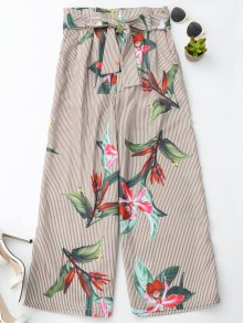 Floral Striped Wide Leg Pants With Belt - Stripe