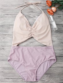 Color Block Ruched Cutout One Piece Swimsuit - Nude