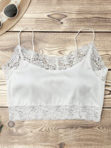 Satin Lace Panel Cropped Top