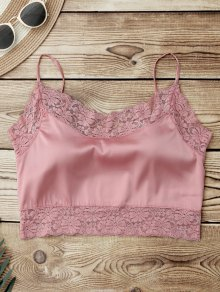 Satin Lace Panel Cropped Top - Pink