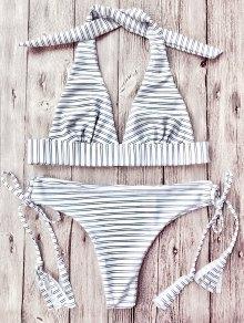 Striped Halter Plunge Bikini Set