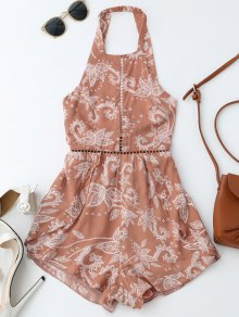 Print Open Back Criss Cross Romper - Brick-red