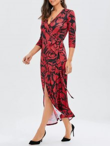 Print Side Knot Slit Maxi Wrap Dress - Deep Red L