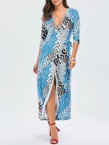 Maxi Zig Zag Slit Wrap Dress