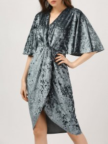 Plunge Twist Front Asymmetric Velvet Dress