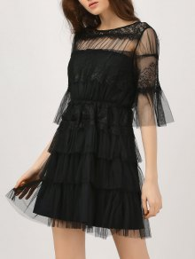 Lace Tulle Flare Sleeve Dress