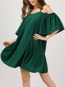 Elastic Straps Cold Shoulder Bell Sleeve Dress
