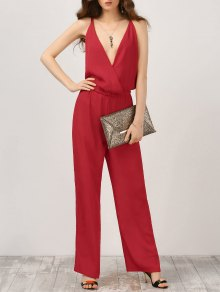 Plunge Open Back Chiffon Jumpsuit - Red M