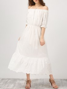 Off Shoulder Ruffle Hollow Out Dress
