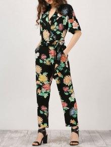 Floral Surplice Jumpsuit With Pocket - Black L